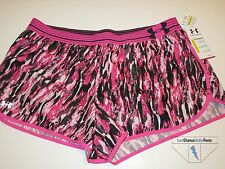 Under Armour Womens UA Running Fitted Shorts Pink Black White XL New NWT