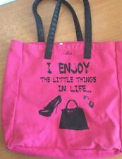 Carpisa Tote Handbag Hobo Bag Canvas Pink I Enjoy The Little Things In Life