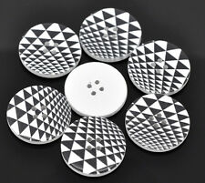 10 Wooden  Retro Black & White Buttons 30mm 3cm Sewing scrap book Free P&P