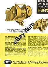 CARCO Winch Model F-50-PSC Brochure for Allis Chalmers HD-11 tractors crawlers
