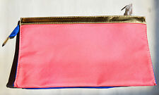 Elizabeth Arden Pink and Blue Cosmetics & Make-Up with Gold Trim Bag NEW