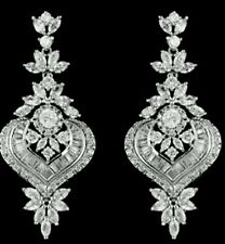 New Austrian Crystal Clear Chandelier 2 1/2''L Pierced Earrings- Rhodium Plated