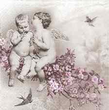 4 Vintage Napkins for Decoupage Angels Flower Birds