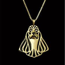 ❤ collar con remolque americano cocker spaniel, cabeza de perro, oro F.