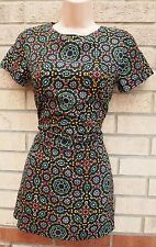 NEW LOOK BLACK MULTI COLOR ABSTRACT FLORAL SILKY LONG  BLOUSE T SHIRT TOP 6 XS