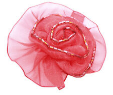 Romantic Sheer Lipstick Red Ribbon & Red Beads/ Easy Pin Rose Brooch(Zx145)
