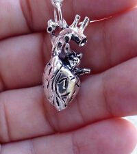 Silver Gothic Anatomical Human Heart Necklace Geek Science Nerd
