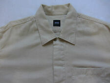 Hugo Boss Men's 100% Cotton L/S Dress Shirt - Solid Beige - Velvet Feel - XL