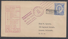 Tonga Sc 58 on 1934 Tin Can Mail Cover to Colorado