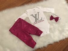Newborn Baby Girl, Fashion LV Outfit, 3pc Set, Clothes Lot