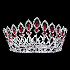 Bridal Pageant Red Rhinestones Crystal Prom Wedding Tiara Full Crown 71020