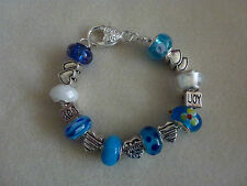 **Handmade Blue Luxury Chunky MUM Murano Glass Bead Charm Bracelet - Great Gift*
