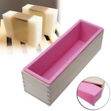 1200g Rectangle Silicone Soap Loaf Mold Wooden Box DIY Making Tools 1200G New MT