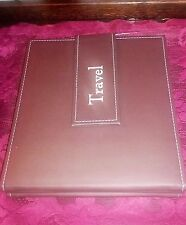 Leather Bound Travel Collection Photo Album Self Adhesive Snap Button Brown Book