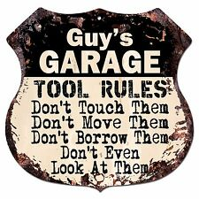 BPG0252 GUY'S GARAGE TOOL RULES Shield Sign Man Cave Decor Funny Gift