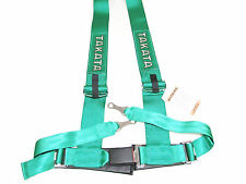 "Takata DRIFT III 4 Point Bolt-On 3"" Racing Seat Belt Harness (Green)"