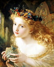 8x10 Sophie Anderson Victorian Art Print THUS YOUR FAIRY Crown of Butterflies