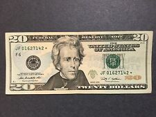 $20 Dollars Bill - Star Note, # JF01627142* Federal Reserve Note, Series 2009