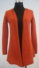 Cynthia Rowley 100% Cashmere Hoodie Cardigan Sweater Open Front Orange Size S