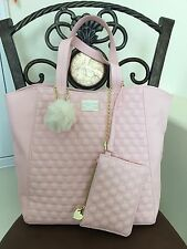 Authentic BETSEY JOHNSON NewYork Faux Leather PINK Purse Hand bag Tote CharmNWT