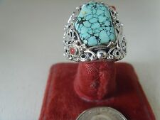 Ring With Nevada Turquoise .925 Sterling Work Done In & Out By Joe Quiyo Hopi