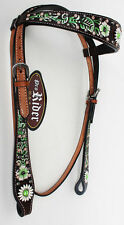 Horse Tack Bridle Western Leather Headstall Lime Green 8277HB