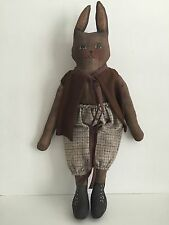 "Primitive Folk Art Rabbit Doll 19"" Cloth Painted"