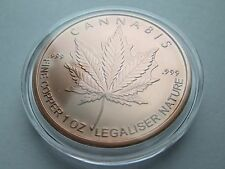 1 oz 2016 Silver Shield Cannabis .999 Fine Copper Round (encapsulated)