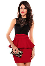 STUNNING RED FLORAL LACE HALTERNECK PEPLUM BRALET BODYCON DRESS 8 10 12 14 16