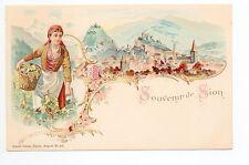 SUISSE SWITZERLAND Canton du VALAIS Costume Carte 1900 Souvenir de Sion
