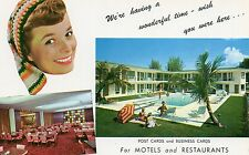 ADVERTISING POSTCARDS & BUSINESS CARDS FOR MOTEL & RESTAURANT GIRL,POOL INTERIOR