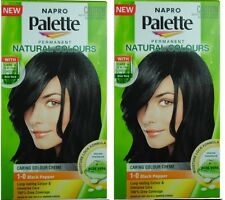 2 x NAPRO PALETTE NATURAL COLOURS PERMANENT HAIR COLOUR 1.0 BLACK PEPPER NEW