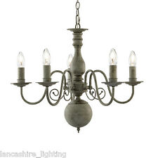 Greythorne Retro Ceiling Light 5 Light Pendant In Textured Grey Steel Finish