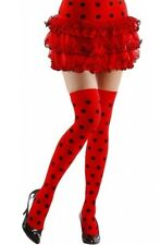 Red Spotted Ladybug Ladybird Hold Ups Stockings XL Plus Size Fancy Dress 16-20