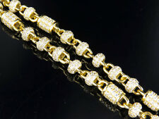 Mens Yellow Gold Sterling Silver Lab Diamonds Bar Round Link Necklace Chain 32""