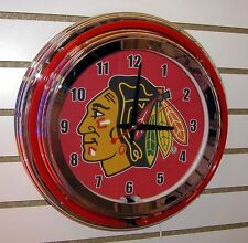 NHL Chicago Blackhawks Logo Sign 2 Ring Red/White Neon Clock - AWESOME!