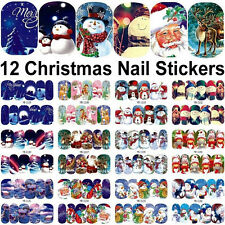 12 Sheets Nail Art Stickers Decoration Decal Merry Christmas Water Transfer Hot