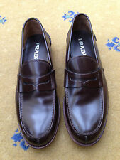 New Prada Mens Shoes Brown Leather Loafers UK 9 US 10 EU 43 Made in Italy 2DE034