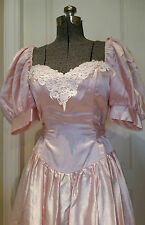 VTG 1980's Pink Princess Prom Formal Dress ~ STEPPIN' OUT ~ Puffy Sleeve Wedding