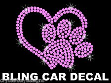 Heart Paw Dog Cat Love Animals Pet Pk Rhinestone Bling Car Decal Sticker 51-19