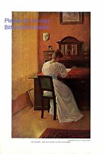 Am Schreibtisch XL Kunstdruck 1910 von Max Sonnenschmidt Dame Brief schreiben