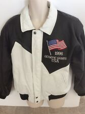 1996 Olympics Leather Coat Size L Stitched American Toons Black White Vintage
