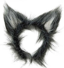 New Plush Grey Wolf Ears Big Bad Wolf Werewolf Halloween Fancy Dress Costume