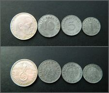 Set of German Nazi Reich coins - 2 Mark, 1, 5, 10 pfennig  with Swastika (50)
