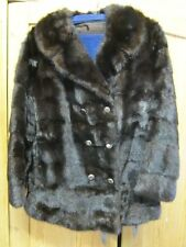 Nerzjacke Pelzjacke dunkelbraun Gr 36 38 S double breasted fur coat jacket 12270