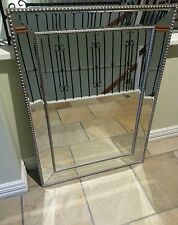 SILVER LARGE BEADED WALL MIRROR FRENCH PROVINCIAL ART DECO 80X110 NEW