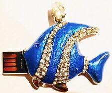 Christms Gift Memory Stick Blue Fish Pendant 64GB USB 2.0 Flash Pen Drive