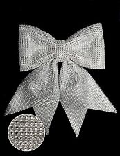 26cm Silver Diamante Bow - Christmas Tree Decoration (DP227)