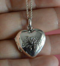 925 Sterling Silver Tree of Life Love Heart 3D Locket Pendant Necklace