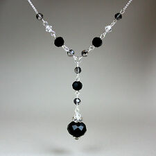 Black grey crystals vintage silver chain drop necklace wedding party gift